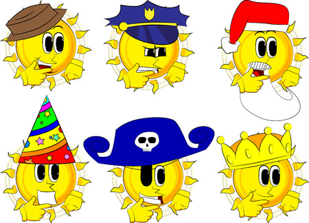 corona navidad: Cartoon sun thinking or pointing to his left side. Collection with costume. Expressions vector set. Vectores