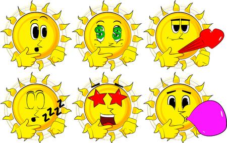 漫画太陽思考や彼の左側を指しています。様々 な表情を持つコレクション。ベクトルを設定します。