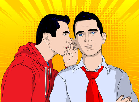 opinion: Business men gossiping. Vector pop art, retro comic book style illustration.