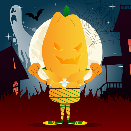 Happy smiling Jack O Lantern with orange pumpkin instead of a head. Vector Halloween Cartoon Character.