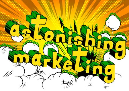 Astonishing Marketing - Comic book style word on abstract background. Ilustração