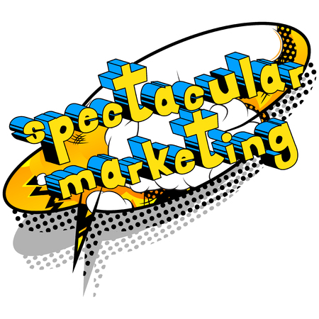 Spectacular Marketing - Comic book style word on abstract background.