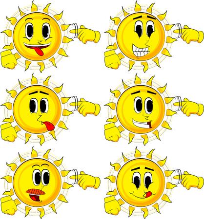 만화 태양 보여줍니다 너는 그의 사원 주위에 그의 손가락을 왜곡하여 너트 제스처. 행복 한 얼굴을 가진 컬렉션입니다. 식 벡터 집합입니다. 일러스트