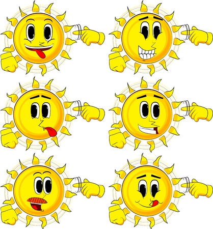 Cartoon sun shows a youre nuts gesture by twisting his finger around his temple. Collection with happy faces. Expressions vector set. Ilustração