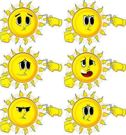 漫画の太陽があなたを示しています彼の寺院の周りに彼の指をねじることによってナットのジェスチャーをしています。悲しい顔を持つコレクショ