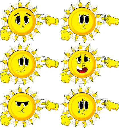Cartoon sun shows a youre nuts gesture by twisting his finger around his temple. Collection with sad faces. Expressions vector set.