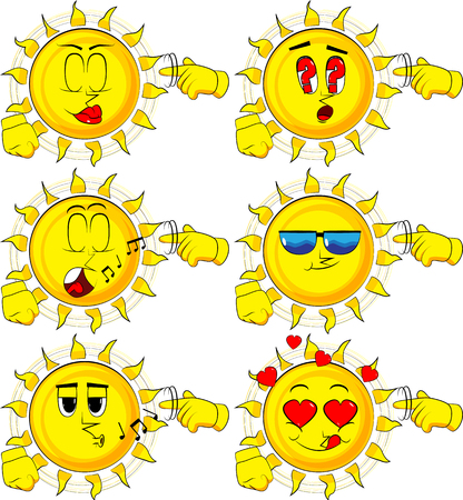 Cartoon sun shows a youre nuts gesture by twisting his finger around his temple. Collection with various facial expressions. Vector set. Illustration