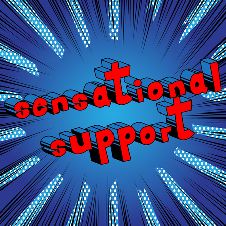 Sensational Support - Comic book style word on abstract background.
