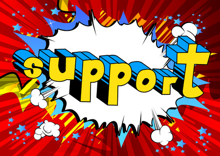 Support - Comic book style word on abstract background. Фото со стока - 87520237
