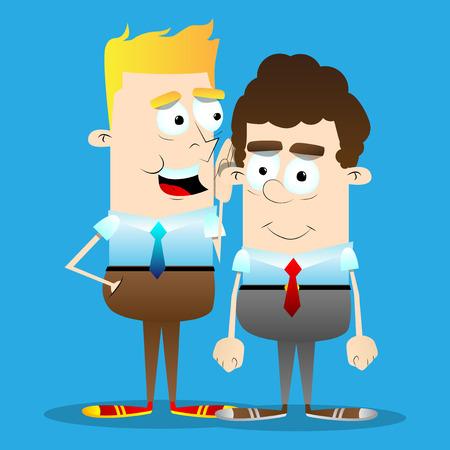 Gelukkige lachende succesvolle zakenlieden gossiping. Vector cartoon, retro stijl illustratie.