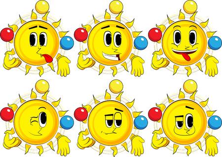 Cartoon zon jongleur. Verzameling met blije gezichten. Expressies vector set. Stock Illustratie