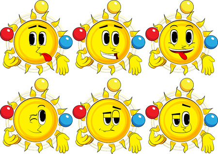 Cartoon sun juggler. Collection with happy faces. Expressions vector set. Illustration