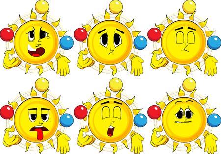 Cartoon zon jongleren. Verzameling met verdrietige gezichten. Expressions vector set.