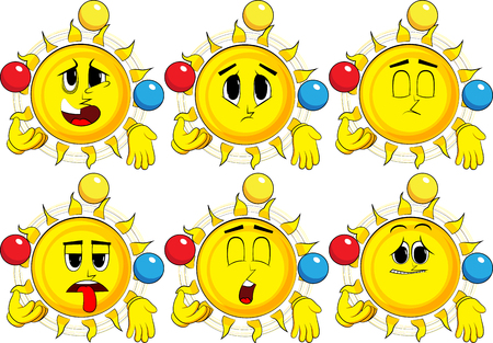 Cartoon sun juggler. Collection with sad faces. Expressions vector set. Illustration