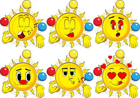 Cartoon zon jongleren. Collectie met verschillende gezichtsuitdrukkingen. Vector set.