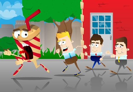 Business office workers running after a terrified cup of coffee. Vector cartoon illustration. Illustration
