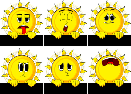 Cartoon sun holding blank black sign. Collection with sad faces. Expressions vector set. Illustration