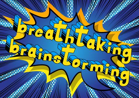息をのむブレーンストーミング - コミック スタイル word の抽象的な背景。
