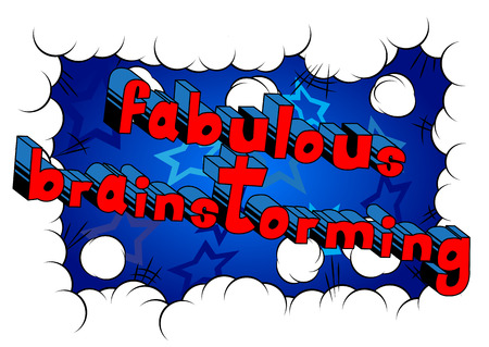 Fabulous Brainstorming - Comic book style word on abstract background. Ilustração