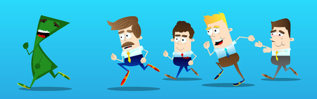 terrified: Business office workers running after a terrified banknote. Vector cartoon illustration.