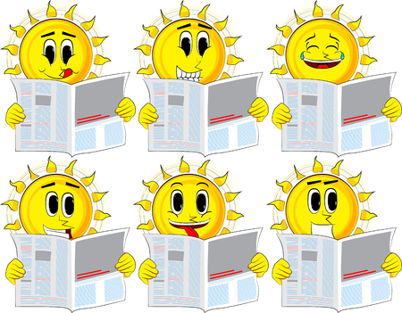 Cartoon sun reading newspaper. Collection with happy faces. Expressions vector set.