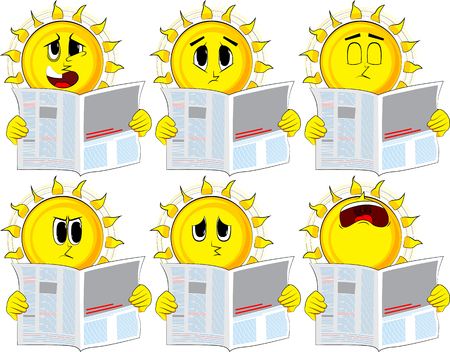 Cartoon sun reading newspaper. Collection with sad faces. Expressions vector set.