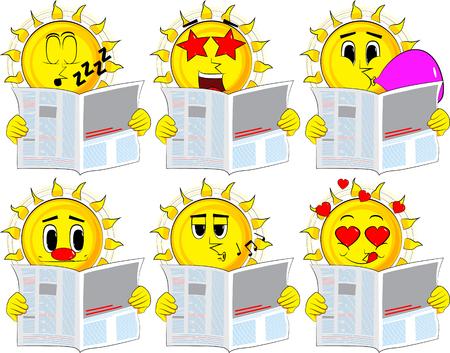 漫画の新聞を読んで太陽。様々 な表情を持つコレクション。ベクトルを設定します。  イラスト・ベクター素材
