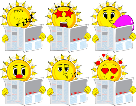 Cartoon sun reading newspaper. Collection with various facial expressions. Vector set. Illustration
