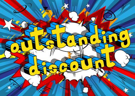 Outstanding Discount - Comic book style word on abstract background.