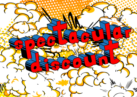 Spectacular Discount - Comic book style word on abstract background.