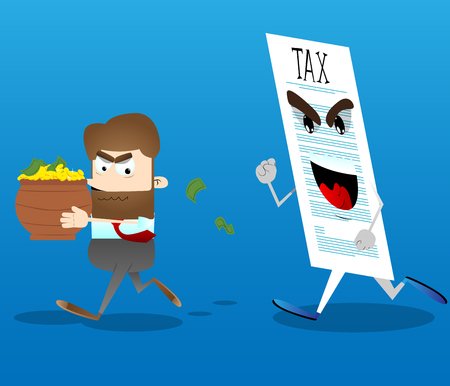 Business office worker running away from tax with a pot of money in his hands. Vector cartoon illustration. Illustration