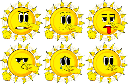 Cartoon sun with sympathy. Collection with sad faces. Expressions vector set.