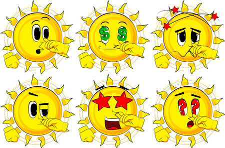 Cartoon sun with sympathy. Collection with various facial expressions. Vector set.