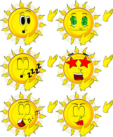 Cartoon sun showing something with both hands, powerful hand gesture.
