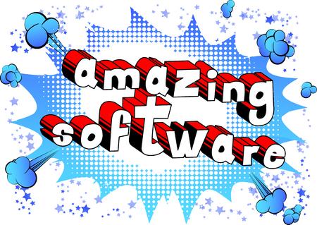 놀라운 소프트웨어 - 추상적 인 배경에 만화 스타일 단어. 일러스트