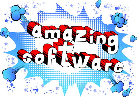 Amazing Software - Comic book style word on abstract background.