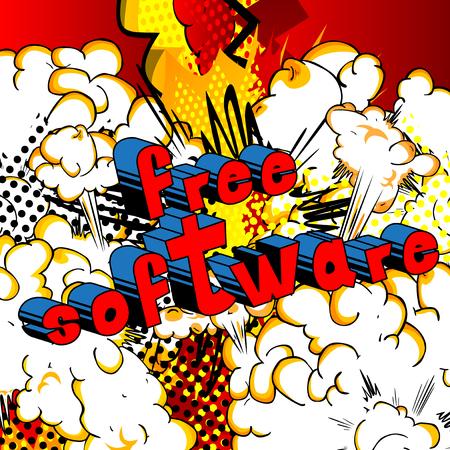 자유 소프트웨어 - 추상적 인 배경에 만화 스타일 단어.