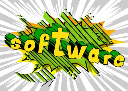 소프트웨어 - 추상적 인 배경에 만화 스타일 단어입니다.