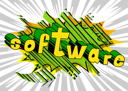 Software - Comic book style word on abstract background.