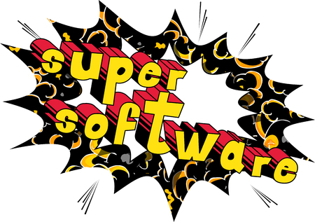 Super Software - Comic book style word on abstract background.