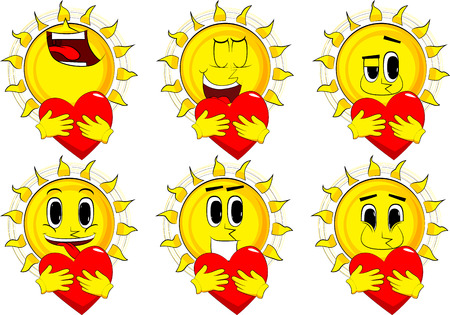 Cartoon sun hugging a big red heart. Collection with happy faces. Expressions vector set.