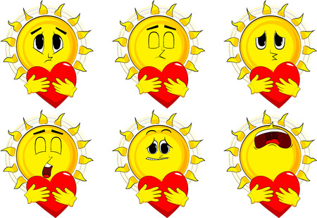 Cartoon sun hugging a big red heart. Collection with sad faces. Expressions vector set.