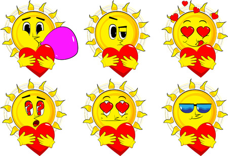 Cartoon sun hugging a big red heart. Collection with various facial expressions. Vector set.