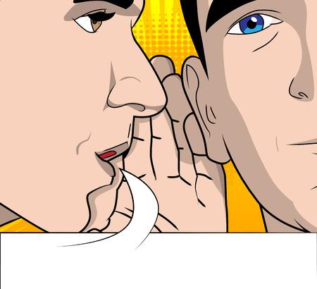 연설 거품 험담 두 남자입니다. 벡터 만화, 복고 스타일 그림을 닫습니다.