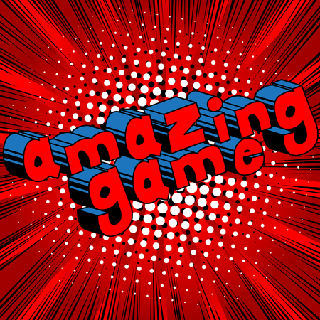 Amazing Game - Comic book style word on abstract background. Banco de Imagens - 87874643
