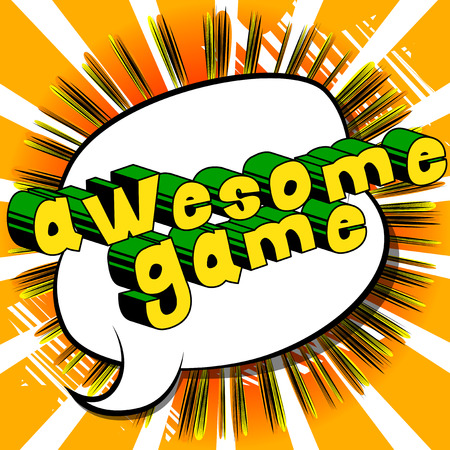Awesome Game - Comic book style word on abstract background.