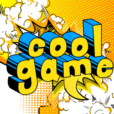 Cool Game - Comic book style word on abstract background.