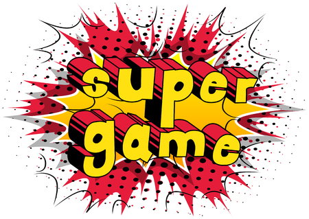 Super Game - Comic book style word on abstract background. Illusztráció