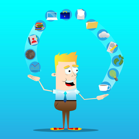 Happy smiling successful business office worker juggling icons. Vector cartoon character illustration.
