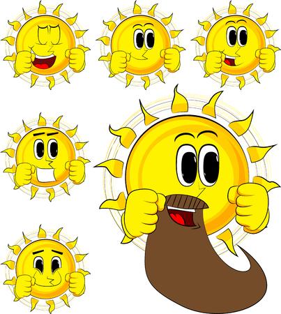 Sol de boxeador de dibujos animados listo para luchar. Colección con caras felices. Conjunto de vectores de expresiones. Foto de archivo - 87812780
